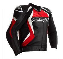 Blouson RST Tractech EVO 4 CE cuir noir bandes rouges homme