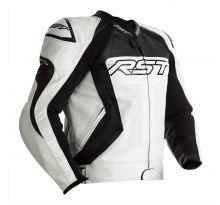 Blouson RST Tractech EVO 4 CE cuir blanc/noir homme