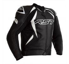 Blouson RST Tractech EVO 4 CE cuir noir bandes blanches homme