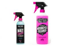 Kit entretien MUC-OFF Twin Pack Nettoyant Moto 1L + Matt Finish 250ml