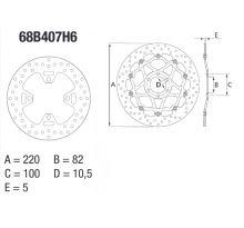 Disque de frein AR rond fixe Brembo serie ORO 68B407H6
