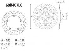 Disque de frein AR rond Fixe Brembo Serie ORO 68B407L0