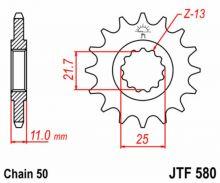 Pignon 16 JT Sprockets acier type 580 pas 530